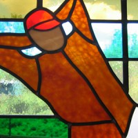 Close-up of Christy Mathewson stained glass window