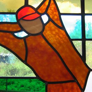 Close-up of Christy Mathewson stained glass window