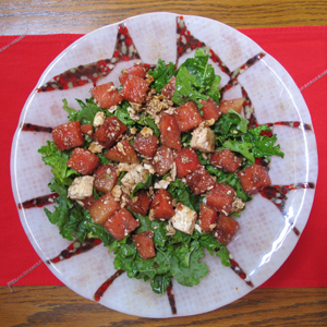 Kale and melon salad in Sandplum with Red Rimations bowl
