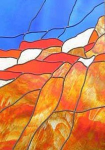 Stained glass panel with iridescent fire opal, cobalt, red, amber,