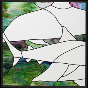 Panel 1 of stained glass triptych with ocean theme