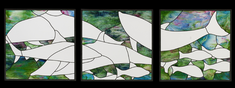 Stained glass triptych with ocean theme