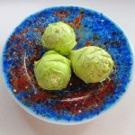 Cobalt & red fused glass pasta bowl with garden kohlrabi