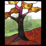 Stained glass pane of: autumn tree