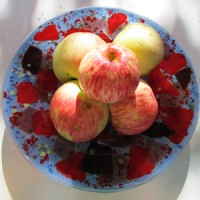 Red, purple & plum on blue pasta bowl with apples