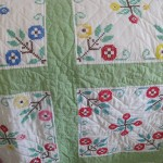 Floral embroidered quilt