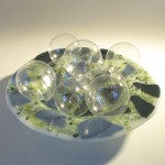 Fused glass pasta bowl with clear globes