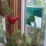Cardinal ornament and glass