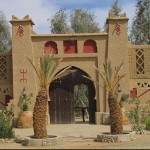 Pise-walled entrance to auberge