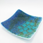 "10"" square fused glass platter"