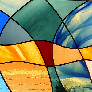 Stained glass window close-up