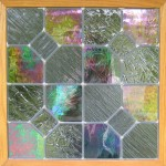 Iridescent glass quilt block