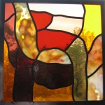 Abstract design stained glass panel