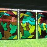 Stained glass pentaptych
